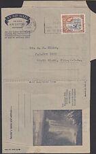 BR GUIANA QE2  Kaieteur Falls formular aerogramme used 1959 to USA..........K221