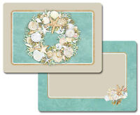 Christmas Coastal Wreath Decofoam Reversible Placemat Set ~ Set/4