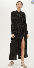 Topshop Black Midi Maxi Spot Shirt Dress Size 10 Brand New With Tags RRP £49