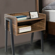 Retro Wooden Nightstand Bedside End Table Side Stand Desk With Storage Drawer US