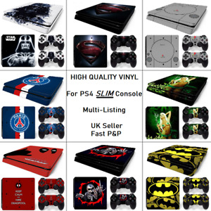 High Quality Vinyl sticker wrap skin set for PS4 SLIM Console and 2x Controllers