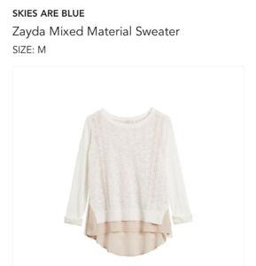NWT Stitch Fix Skies Are Blue Zayda Mixed Material Sweater Medium White $58