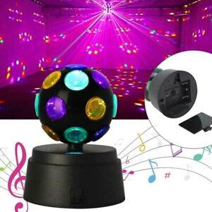 Disco DJ Lamp Light Ball Crystal Party Rotating LED Magic Stage Club Battery