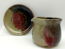 HICKORY FLATS POTTERY MINI PITCHER & UNDERPLATE RED BROWN HANDMADE CINDY ANGLISS