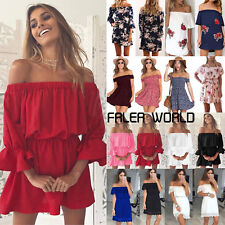 Women's Summer Off Shoulder Short Mini Dress Beach Cocktail Evening Party Dress
