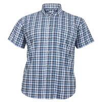 Mens Cotton Valley Big Size Navy Black White Check Short Sleeve Shirt 2XL 3XL