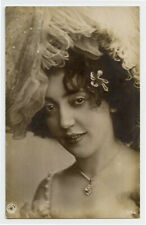 c 1907 French LOVELY YOUNG LADY Pretty Woman photo postcard