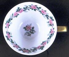 Noritake 5417 Coffee Tea Cup PINK ROSES GRAY & GREEN LEAVES Pattern Gold Detail