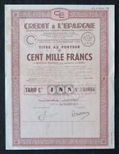 Action 1943  CREDIT A L EPARGNE LYON titre bond share 4