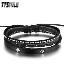 TRENDY TTStyle Black Bling Black Leather Bracelet Wristband NEW