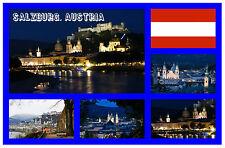 SALZBURG, AUSTRIA - SOUVENIR NOVELTY FRIDGE MAGNET - FLAGS / SIGHTS - NEW / GIFT