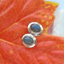 Labradorit, oval, Edelstein, blau grün Ohrstecker, Ohrringe, 925 Sterling Silber