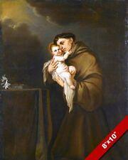 SAN ANTONIO PADOVA WITH BABY JESUS PAINTING CHRISTIAN BIBLE ART CANVAS PRINT