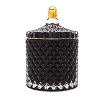 Diamond Black Glass Votive Candle Holder with Lid. Set of 2