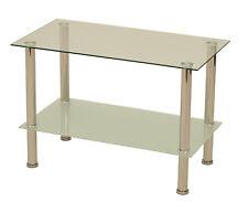 Couchtisch Beistelltisch Glastisch QUEENS 80x40x50cm Füsse Edelstahl Glasplatten