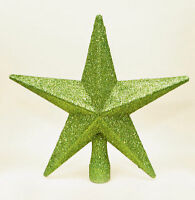 APPLE GREEN Christmas Tree Top Star Topper Glitter finish 20cm star top of tree