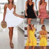 Fashion Sleeveless Summer Women Lace Dress Sexy Backless V-neck Beach Dresses