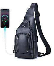 Men Sling Bag Genuine Leather Crossbody Chest Bag Travel Multi-Pocket Shoulder B