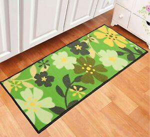 Green Floral Bedside Runner Rectangular Of Polyster, 45 x 120 Cm For Home Decor