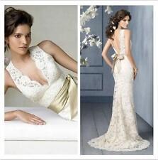 New Ivory Lace Train Straps V-neck Customize Wedding Dress 2 4 6 8 10 12 14 16