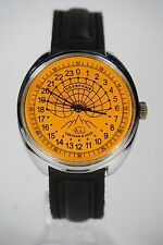 Mechanical watch RAKETA POLAR BEAR 24-HOUR. New. Orange dial. 39mm