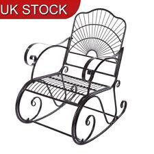 1-seat Antique Rocking Chair Garden Bench Armrest Metal Outdoor Park Decorative