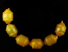 (H7669)   6 pc Old STONE beads  Hand Carved 16x12mm.
