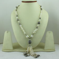 NATURAL REAL FINE PEARL GEMSTONE BEADED BEAUTIFUL NECKLACE 42 GRAMS