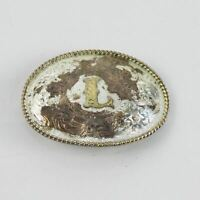 "Montana Silversmiths Silver Plate Floral Monogrammed ""L"" Belt Buckle A-3"