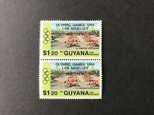 """Guyana 4287 - 1984 LOS ANGELES OLYMPICS Spelling mistake """"LOS ANGELLES"""" Pair"""