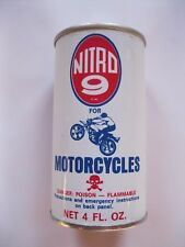 Vintage  Nitro 9 Gas Additive Tin Oil Can Motorcycle N.O.S.