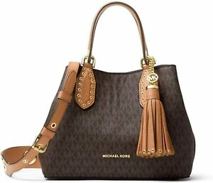 Michael Kors Brooklyn Small Brown Acorn MK Signature Satchel Grab Bag