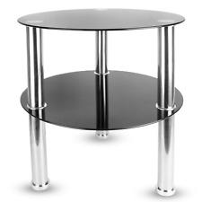 Small Round Glass 2 Tier Table | Sofa Side Storage Shelf Coffee Table | M&W