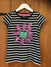 Next Lovely Girls Flower Striped Top Age 9yrs 100% Cotton