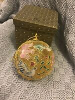 Vintage Chinese Birds With Flowers Gold Tone & Glass Ball ORNAMENT Original Box