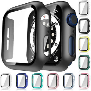 For Apple Watch iWatch Series SE 6 5 4 3 2 1 Case Full Glass Cover 38 40 42 44mm