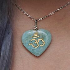 Jade Om Symbol Heart Necklace Engraved Yoga Reiki Chakra Gift Gemstone Jewelry