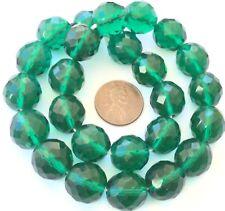 14mm Fine Trade Czech Firepolish Kelly Green Bohemian Glass beads