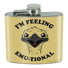 I'm Feeling Emu-tional Emotional Emu Stainless Steel 5oz Hip Drink Flask