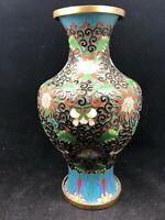 "Antique Cloisonne Vase With Enameled Bufferflies Old 9"" Signed"
