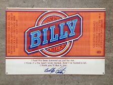 Billy Beer Bill William Carter Brand Brewing Hillbilly Vintage Poster Steel Sign