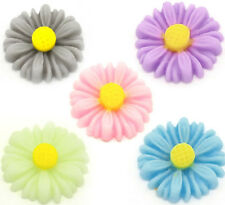 20 Mixed Colour Resin Daisy / Flower Cabochons - 13mm  - - UK Seller