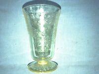 Topaz Yellow Florentine Depression Glass Tumbler 5 inches 9 oz