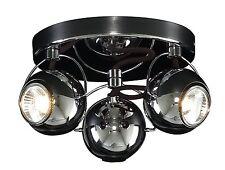 Retro Gloss Black Chrome 3 Way Adjustable Eyeball Ceiling Spotlight Lamp GU10