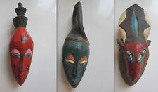 LOT DE 3 MASQUES AFRICAIN - BOIS PEINT - ART TRIBALE - AFRIQUE ETHNIQUE