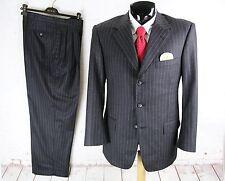 DAVID AUGUST BLACK (42S) Mens Charcoal Stripe Jacket Pleat Cuff Pants Suit 34W