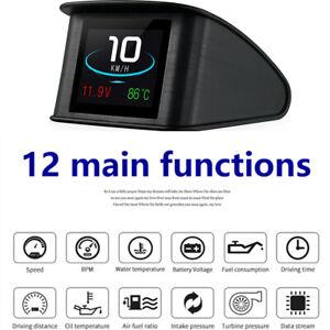 HUD Car Speed Digital Display Speedometer Fuel Consumption Temp Diagnostic Tool