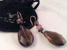 M & J Savitt smokey and pink topaz drop earrings