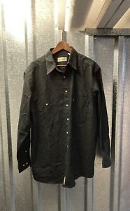 Fieldmaster Black Button Down Heavy Cotton Long Sleeve Shirt XLarge Tall
