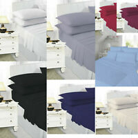 Plain Dyed Fitted Valance  Sheet Bed Skirt Single Double King Size / Pillow Case